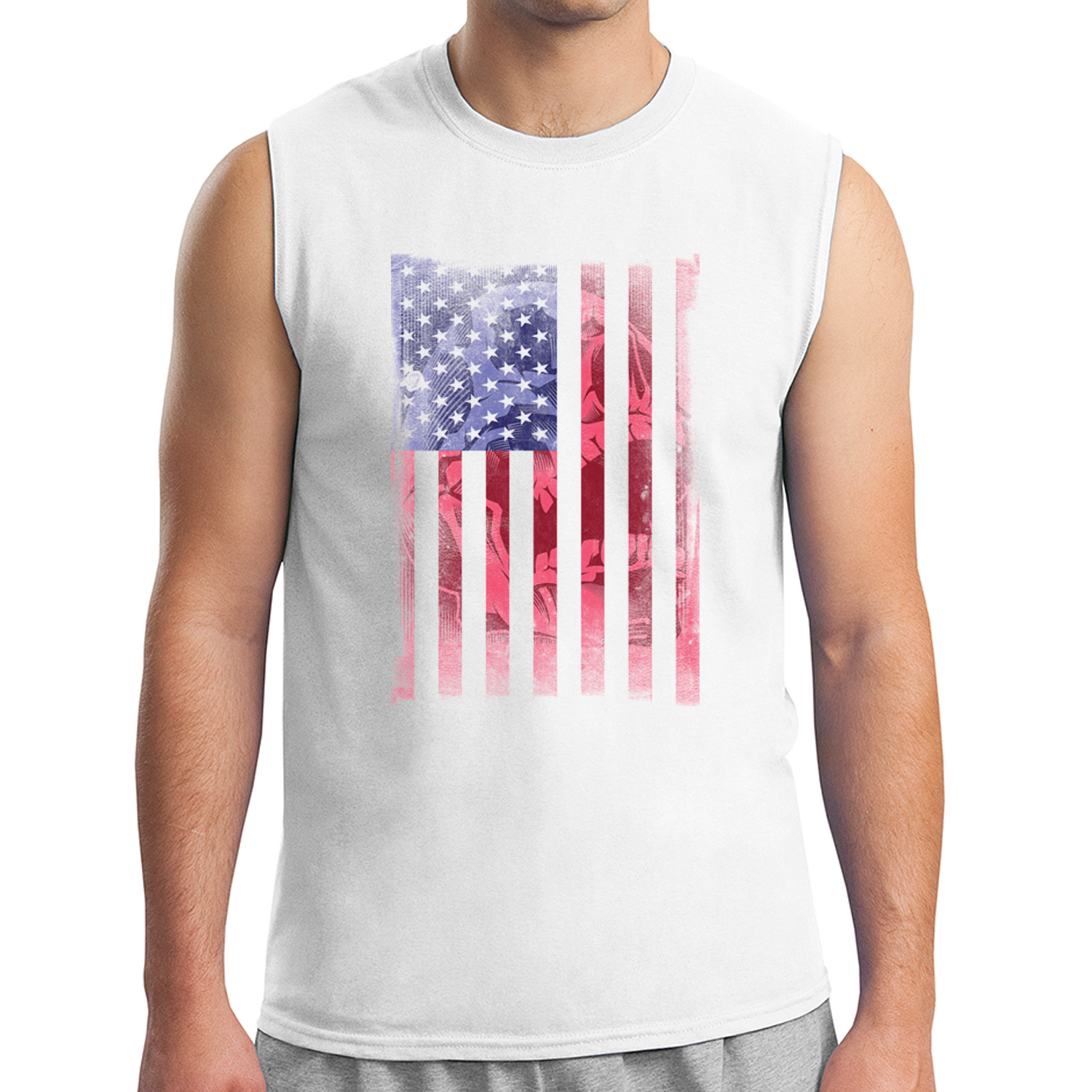 1821C Distressed United States Flag Men/'s Sleeveless New Army US Muscle Tee