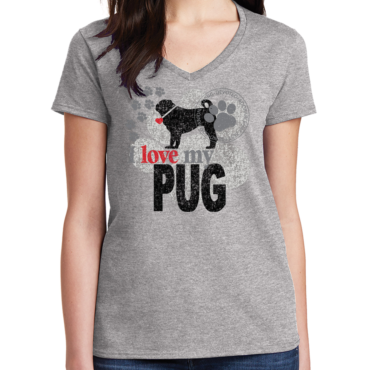 I love my PUG Kid/'s T-shirt Devoted Adorable Dog Tee for Youth 1739C