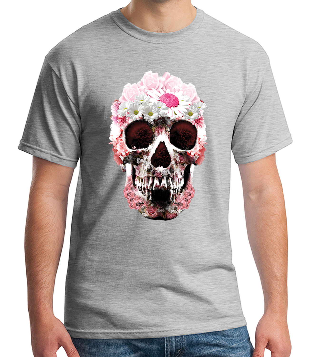 Pink Girly Skull Adult/'s T-shirt Daisy gothic graphic Tee for Men 1953C