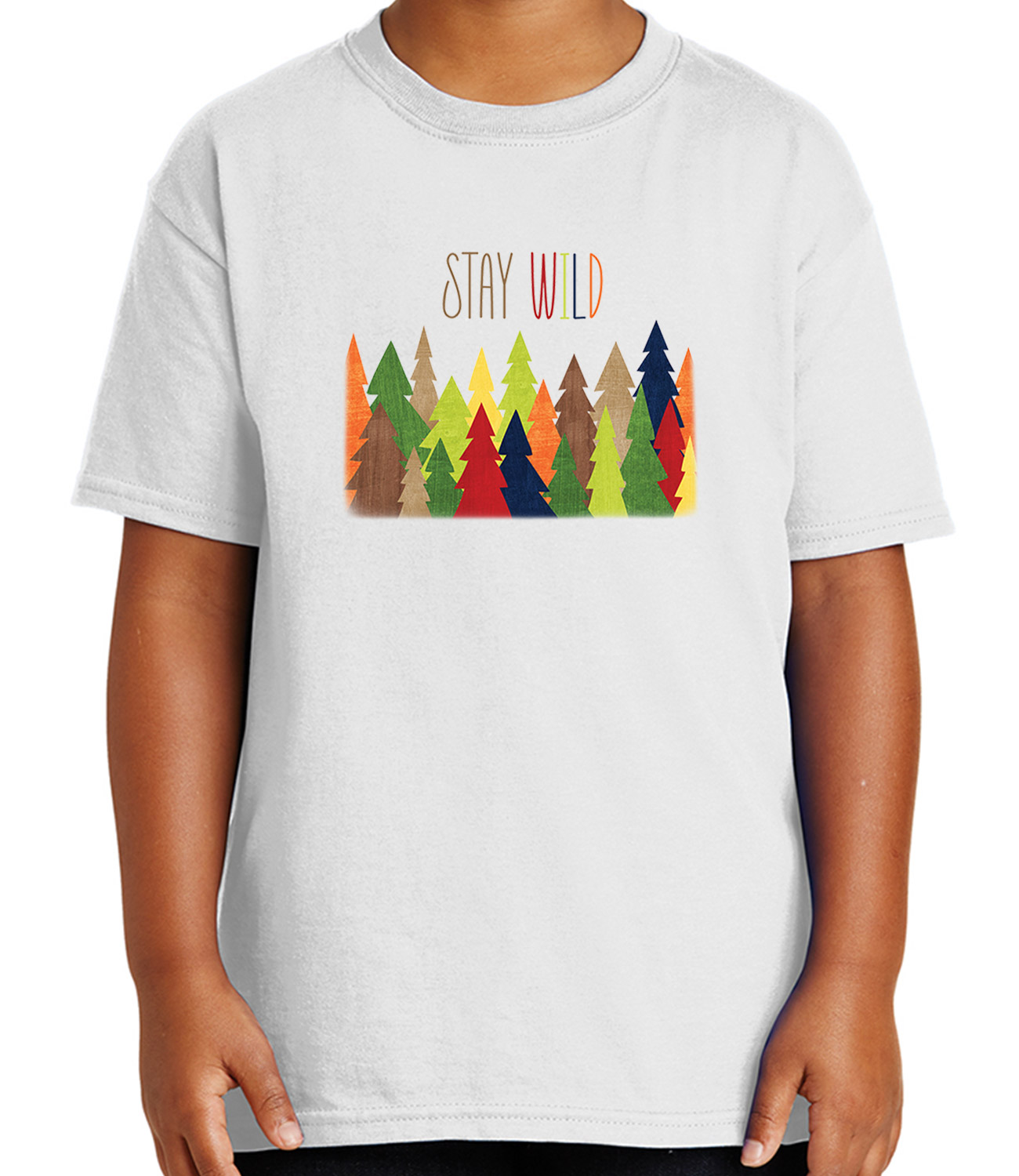 Stay Wild Forest Kid's T-shirt Cute Camping Colors Tee for Youth - 2018C
